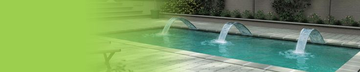 Trilogy Fiberglass Swimming Pool Products - Fusion Pools - cascade/waterfall shooting up from pool deck level