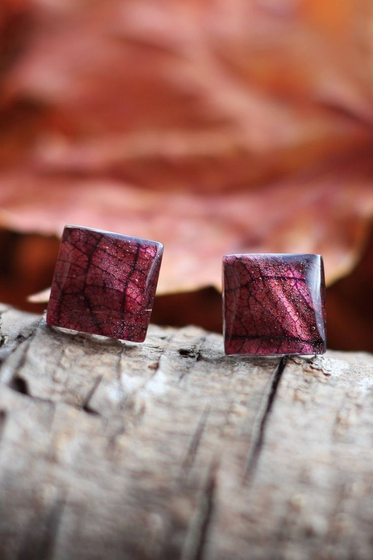 Aubergine colour #Leaf #studs with eco #resin & sterling silver backs. #autumn #fall #leaves by GoldenForestBoutique on Etsy https://www.etsy.com/ie/listing/563816389/aubergine-colour-leaf-studs-with-eco