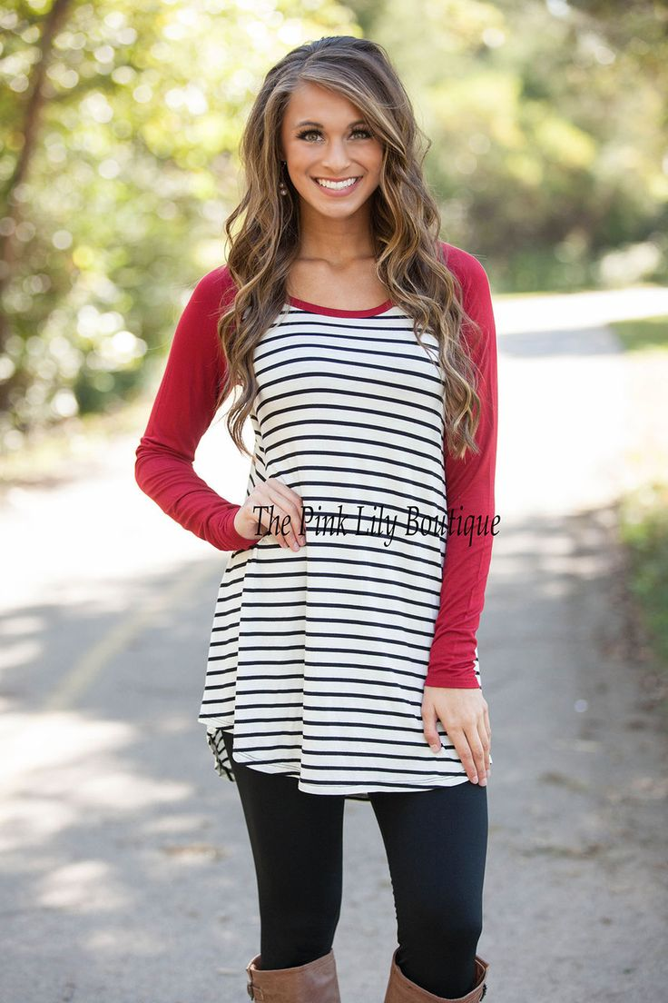 In The Line Stripe Tunic Red - The Pink Lily Boutique