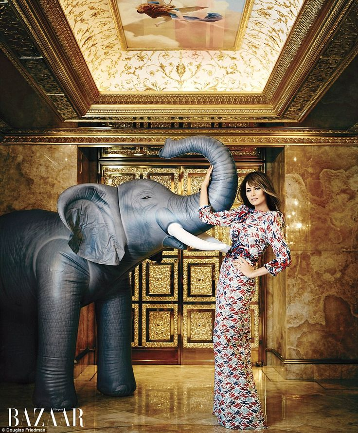 GOP imagery: Melania posed with an inflatable elephant - perhaps a nod to the Republican s...