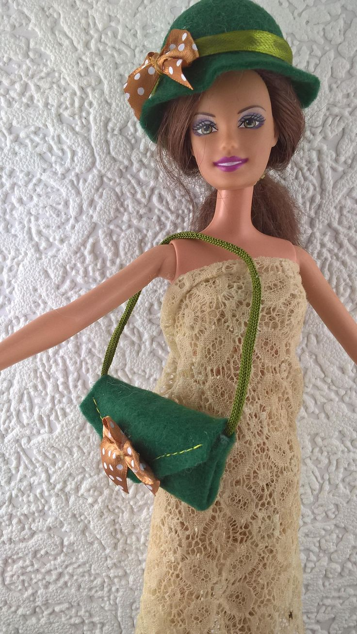 Green felt hat and handbag for Barbie. OOAK handmade hat and purse for 12inch fashion doll. Decorated with bows. Barbie accessories. by Nobodyknitsitbetter on Etsy