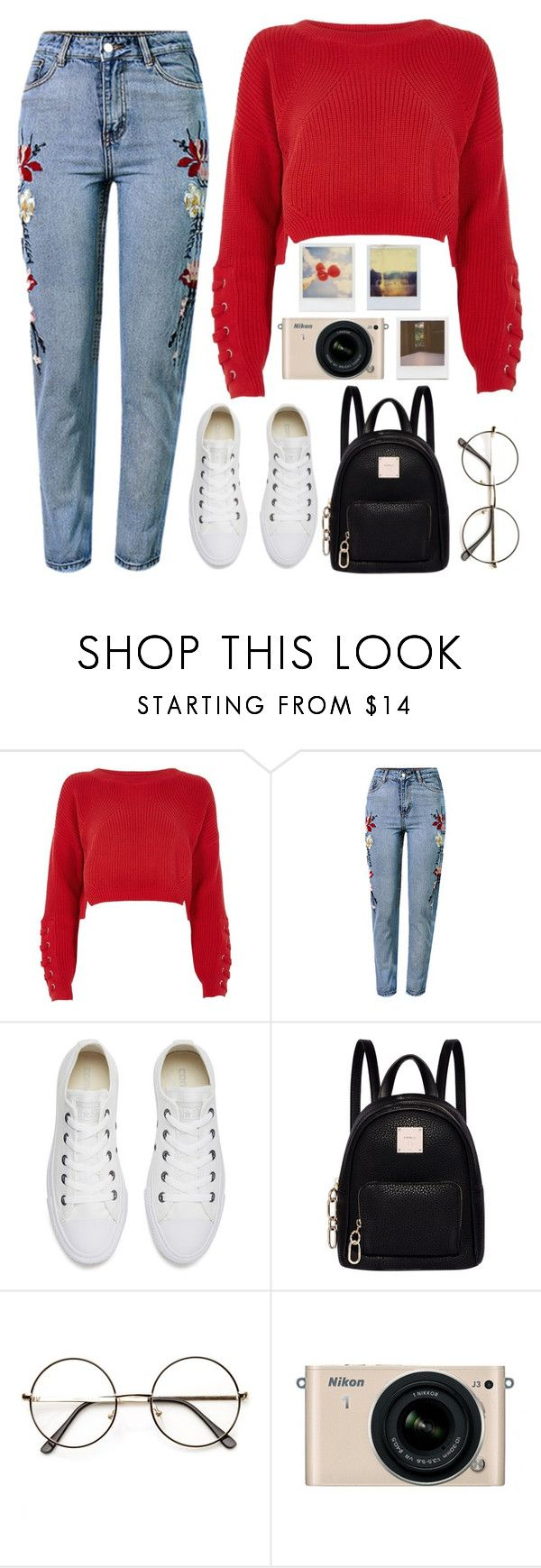 """""""Untitled #986"""" by dolrebeca ❤ liked on Polyvore featuring River Island, WithChic, Converse, Fiorelli, Nikon, Impossible Project and Polaroid"""