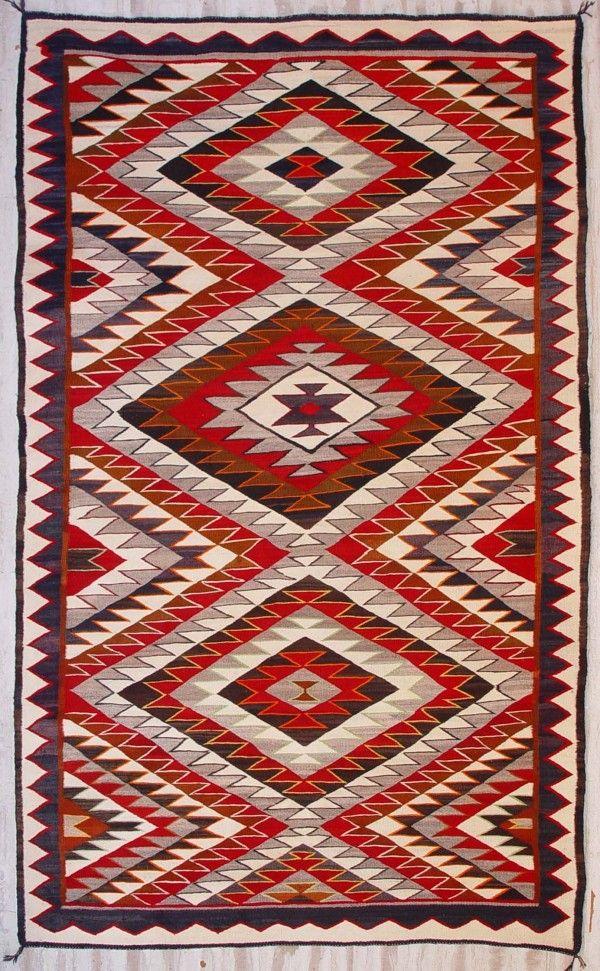 Old Navajo Rug Red Mesa Circa 1920