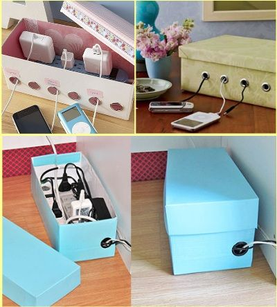 Shoebox Cable Management - Repurpose a shoebox by cutting holes in the side and fitting metal eyelets around the holes. And there you go: instant cable management.