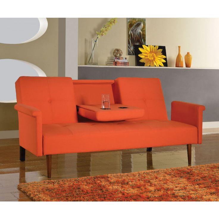 Acme Furniture Randie Orange Linen Mid Century Modern Adjustable Sofa Futon With Drop Down Center Console 57114
