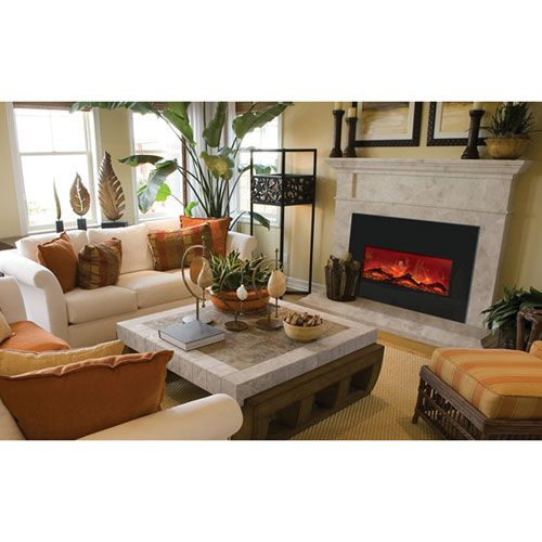Black Large Electric Insert Amantii Electric Fireplaces Fireplace Inserts Fireplaces Home