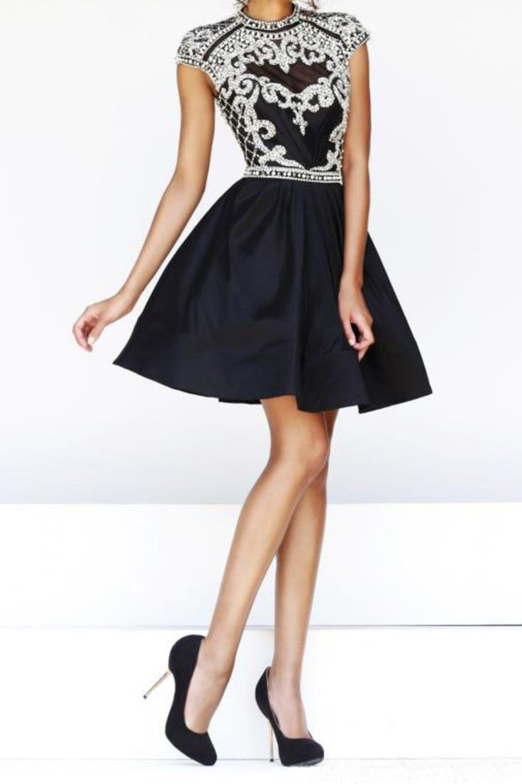 2015 Sexy Open Back High Neckline Short/Mini A Line Homecoming Dress Taffeta Beaded Bodice