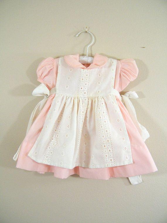 Vintage 1950s Baby Dress / Pink Dress with White Apron / Size Medium