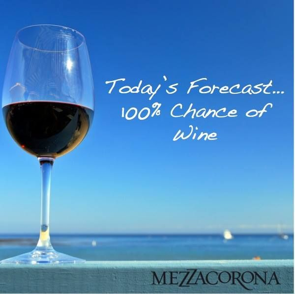 Today's forecast... 100% chance of wine.  Must be Monday!