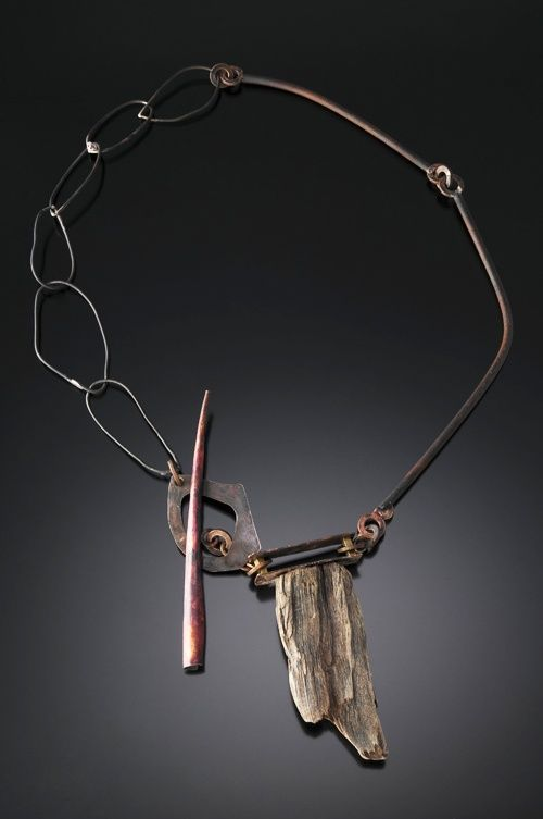 Roxy Lentz Necklace: Untitled 2012 Copper, steel, brass, drift wood, silver plate tray
