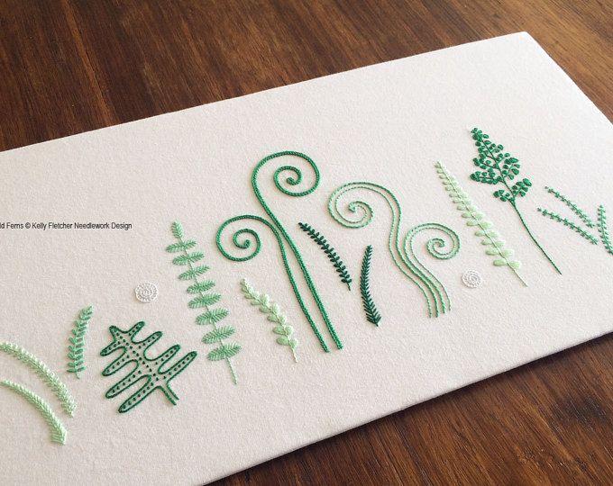 Wild Ferns modern hand embroidery pattern - modern embroidery PDF pattern, digital download