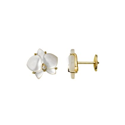 Caresse d'Orchidées par Cartier earrings - Yellow gold, white mother-of-pearl, diamonds - Fine Earrings for women - Cartier