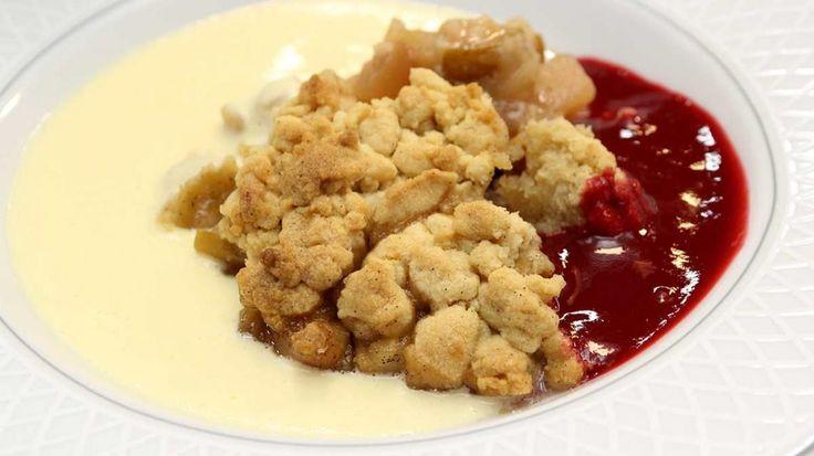 Crumble met appel en peer, coulis van frambozen en custard van citroen      | VTM Koken