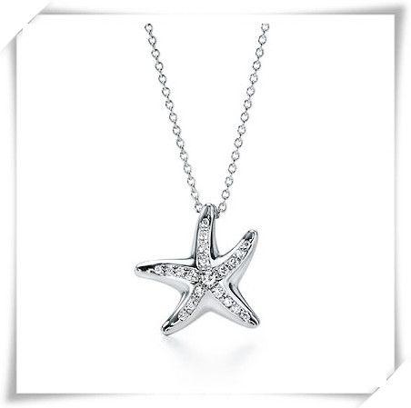 Tiffany & Co. Diamond Set Silver Starfish Necklace