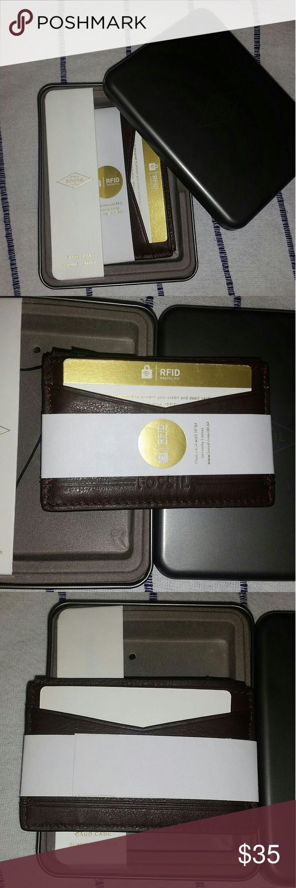 SALE🎉Brown Fossil RFID Card Holder PRICE FIRM/Brooks Card Case RFID in Dark Brown. This wallet in new and in perfect condition & comes in its metal box!  Perfect for the Holidays!  RFID: Radio-frequency identification (RFID) uses electromagnetic fields to automatically identify and track tags attached to objects. The tags contain electronically stored information. Passive tags collect energy from a nearby RFID reader's interrogating radio waves Fossil Accessories Key & Card Holders
