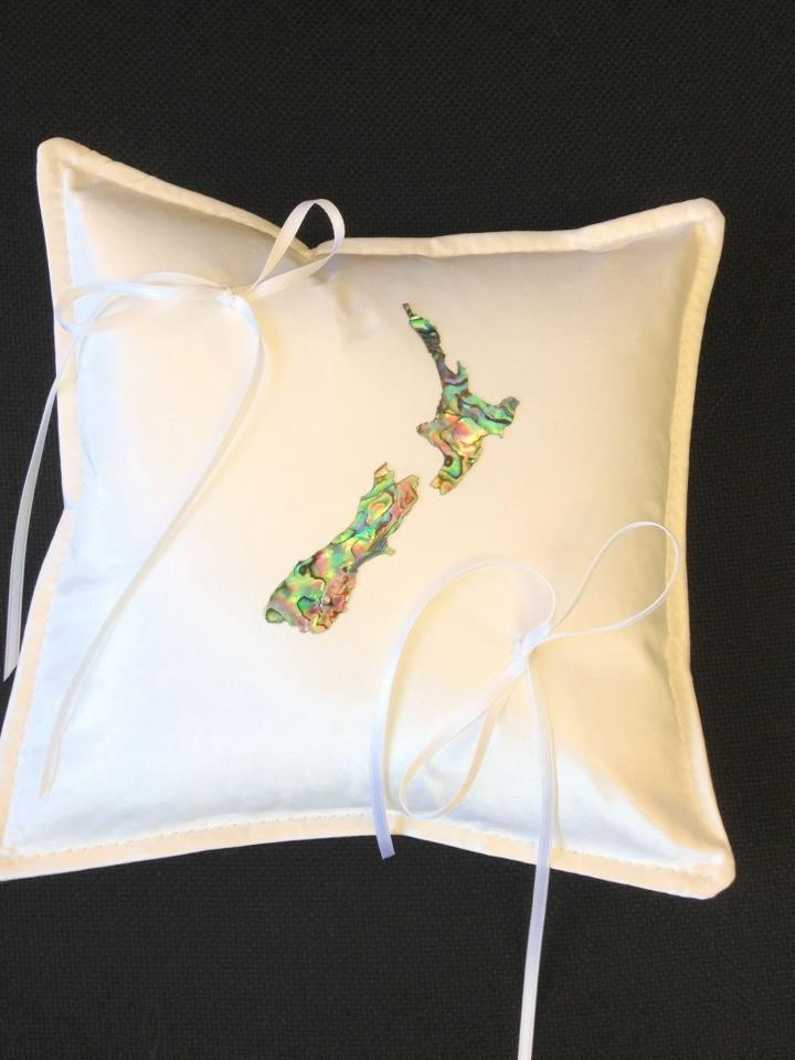 Ivory ring pillow, with paua shell laminate of NZ   Please visit my site http://satinfinish.weebly.com/ring-pillows.html to purchase