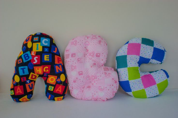 3D Alphabet Initial Letter Pillow, Kid's Bedroom, Nursery Decoration, ABC pattern A, Pink Girls B, Patchwork C, Customisation available, RTS by MissSaturnDesigns on Etsy