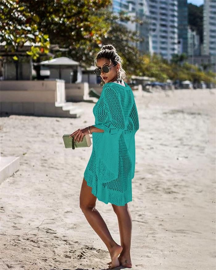 Crochet Knitted Beach Cover up Dress Tunic Long Pareos Bikinis Cover ups Swim Cover up Robe Plage Beachwear 2019 White Swimsuit 1