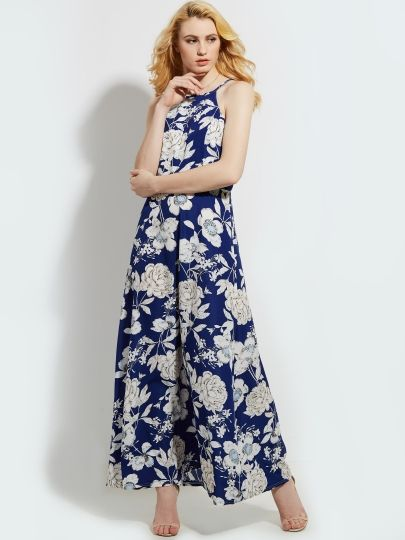 Blue Open Back Floral Printed Women's Maxi Dress #Summer #Coupons #Sale #Dresses