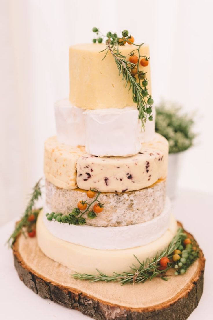 Cheese Tower Cake Stack Log Boho Beer Festival Wedding http://www.emilysteve.com/