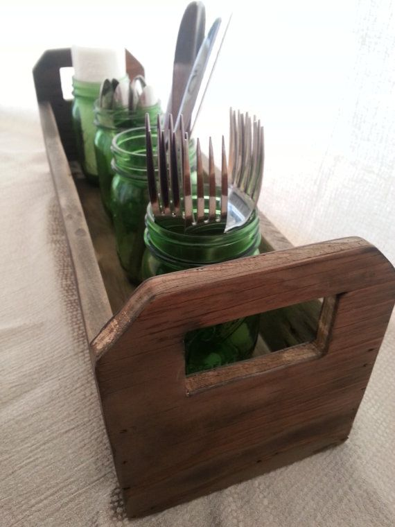Wooden trough centerpiece with handles / rustic by HankyPlanky