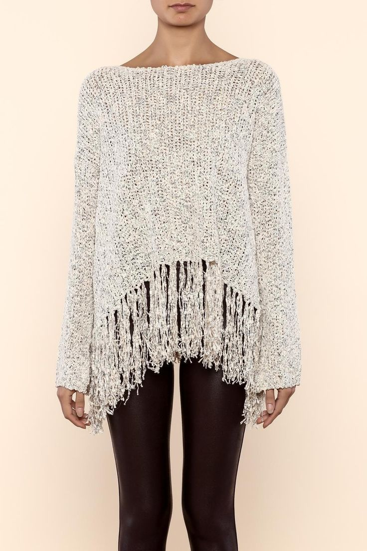 Beige knit sweater. Semi open back ( as shown in 2nd picture) Fringe hangs from bottom.   Beige Fringe Sweater by Very J. Clothing - Sweaters - Crew & Scoop Neck Florida