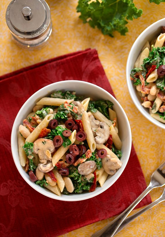 Pasta with Greens and Beans in Creamy Cashew Sauce recipe