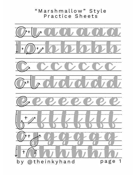 Marshmallow Style Brush Calligraphy Practice Sheet Set Tipos
