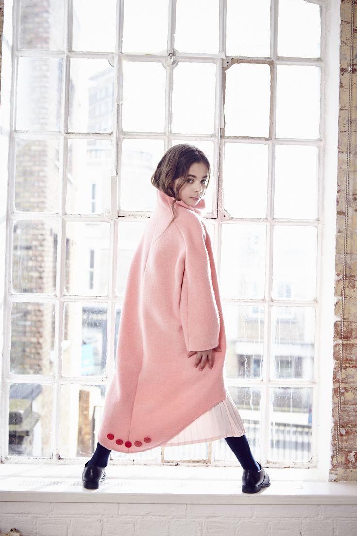 Stunning curved hem pale pink winter coat from OWA YURIKA for fall 2016 girls fashion