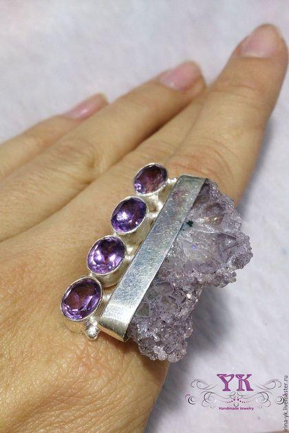 Кольца ручной работы. Ярмарка Мастеров - ручная работа. Купить Эффектное и стильное кольцо из серебра и аметиста.. Handmade. Сиреневый