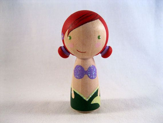Simply Ariel the Little Mermaid Kokeshi Peg Doll by knottingwood, $20.00