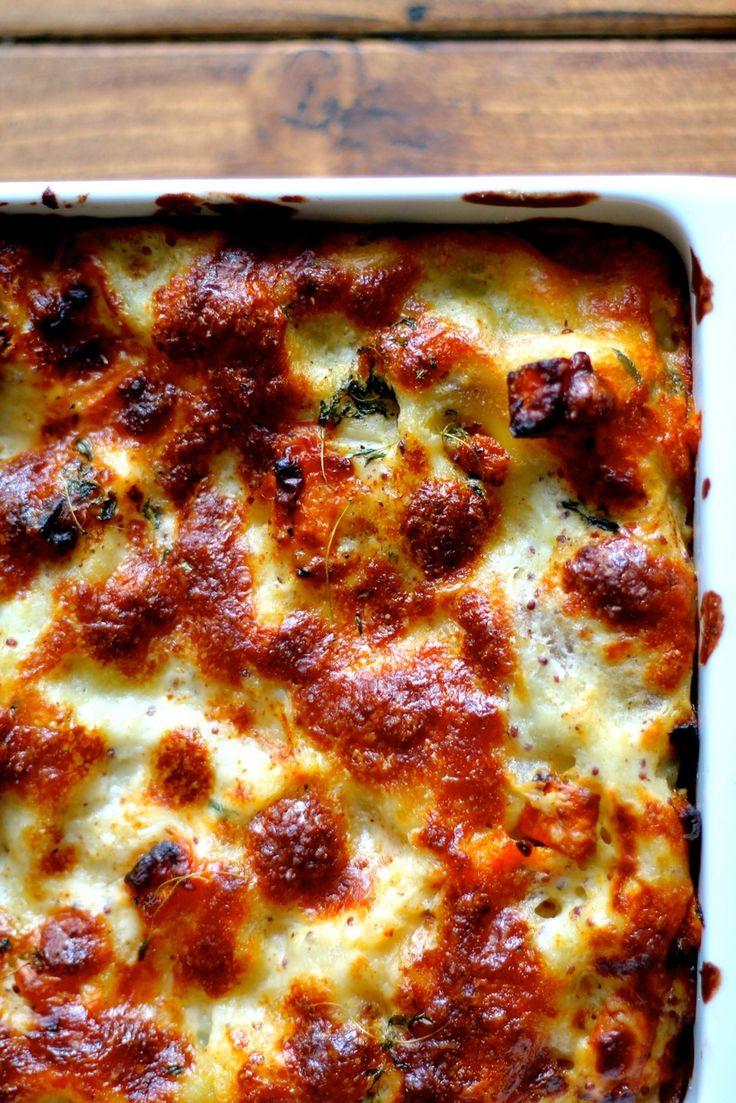 Græskar-lasagne med svampe, timian og ost | Anna-Mad blog