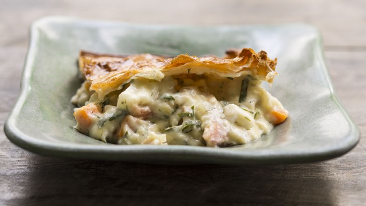 Frank Camorra's crisp, enticing smoked trout and snapper pie.
