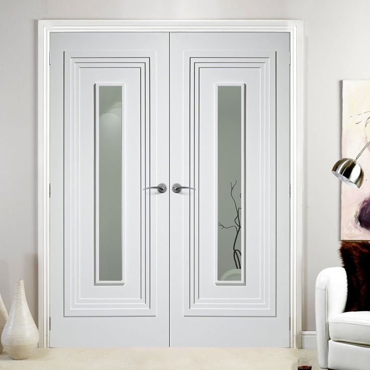 Atlanta White Primed Flush Door Pair With Clear Safety Glass
