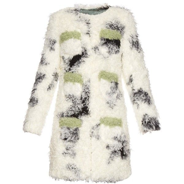 Shrimps Cheryl spotted faux-shearling coat (17.310.790 VND) ❤ liked on Polyvore featuring outerwear, coats, jackets, black white, black and white coat, polka dot coat, sherpa coat, faux shearling coat and black and white polka dot coat