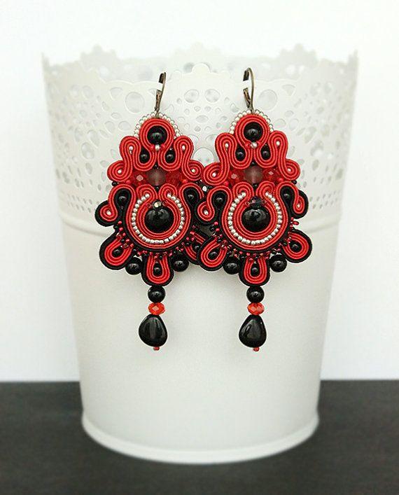 Red soutache earrings chandelier earrings red dangle by pUkke
