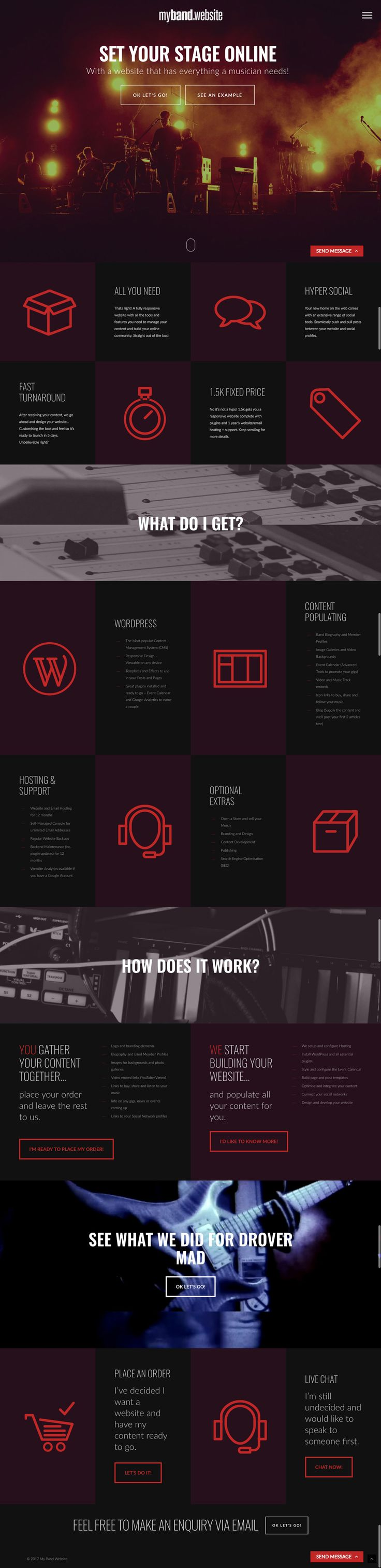 My Band Website responsive one-page site with multistep ordering form by KORE. http://kore.digital
