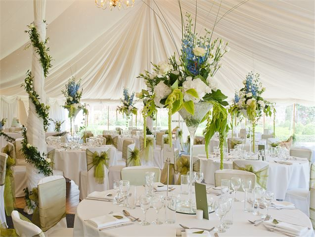 Beautiful tall centre pieces, Parley Manor - Inspiration Gallery Wedding Venue Image