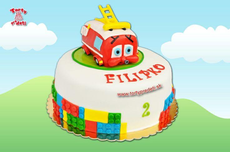 Torta požiarnicke autíčko Finley | Torty Žilina - detské, marcipánové, 3D, a iné torty na objednávku