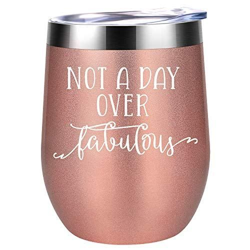 Wine Tumbler with Funny Saying Funny Wine Gift for Her Not A Day Over Fabulous,12 oz Insulated Stemless Wine Glasses with Lid and Straw 40th Birthday Gifts for Women