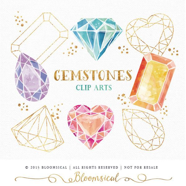 Gemstones Clip Art   Hand Drawn watercolor diamond crystal gem gold foil and glitter Digital Graphics   Graphic Resources (5.00 USD) by Bloomsical