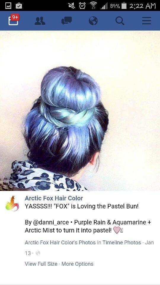 Artic Fox Hair Color in mixture of Purple Rain, Aquamarine & Artic Mist