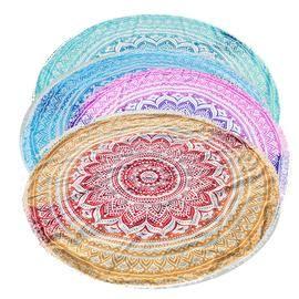Sunbath Round Beach Towels Bohemian Style Print Ball Tassel Blanket Yoga Mat Women Sunbath Dress Bath Towel