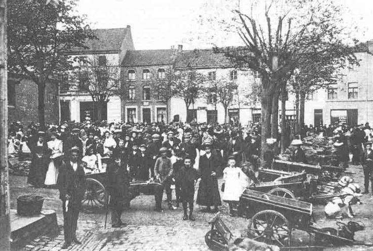Hondskarren op het marktplein (Wilhelminaplein) in Heerlen, ca 1911.