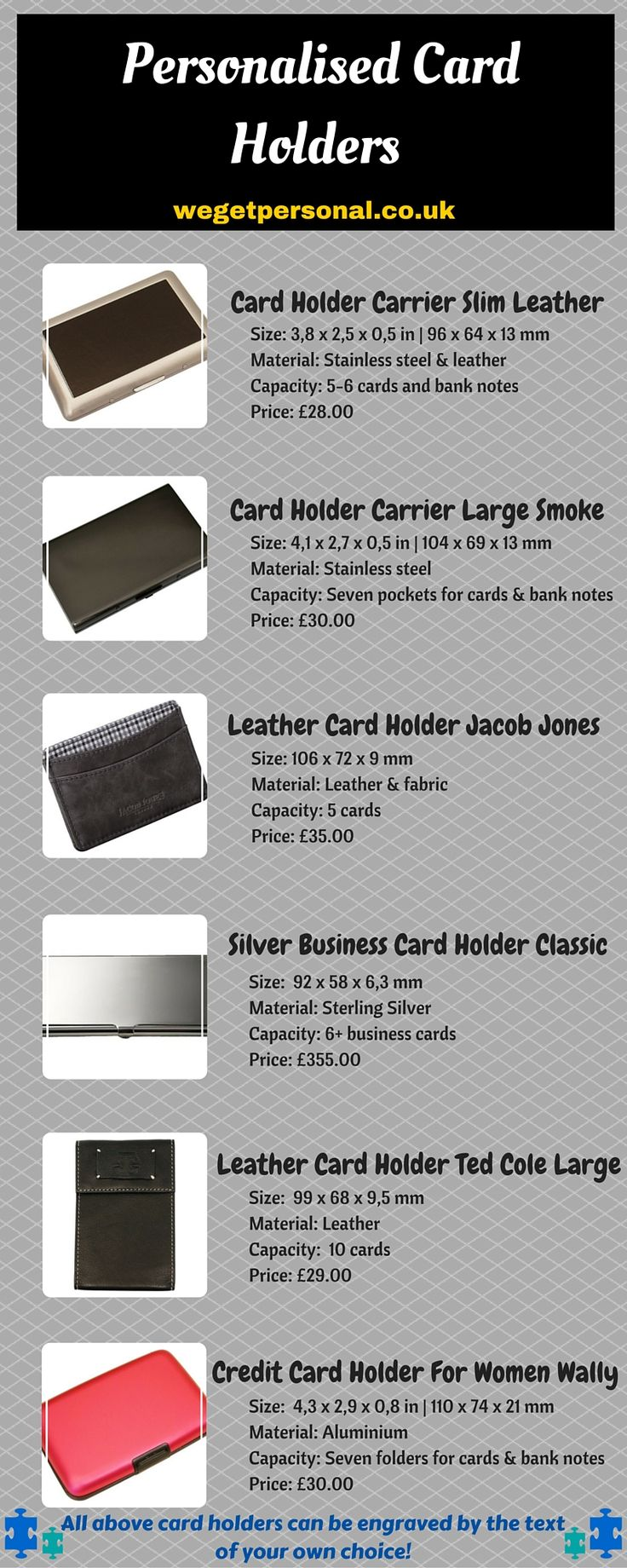If your are looking for amazing range of personalised card holders, you can never go wrong with We Get Personal UK. It is the online hub of personalised gifts and jewellery. Get the awesome range of card holders and get it engraved by the text of your own choice. Free shipping and quick deliveries available! For any inquiries, email us at info@getpersonal.se #cardholder #LeatherCardHolder #personalisedcardholder #engravedcardholder