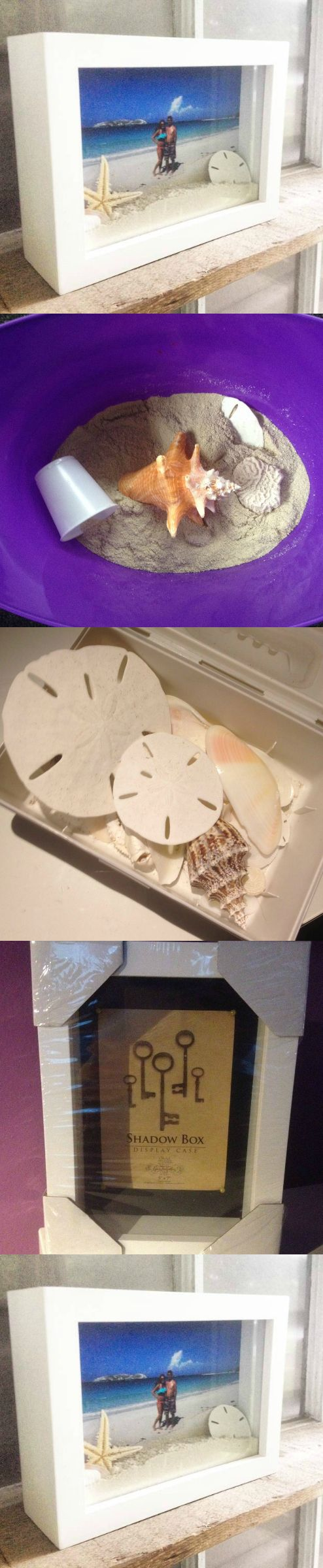 What to do with your seashells and sand you save from vacations: Buy a shadow box frame and pick a picture from vacation that you took next to the ocean. Place the sand from that beach in the shadow box, add your seashells, sand dollars, starfish, etc. and you have a cheap and easy vacation keepsake! #ocean_crafts_gifts