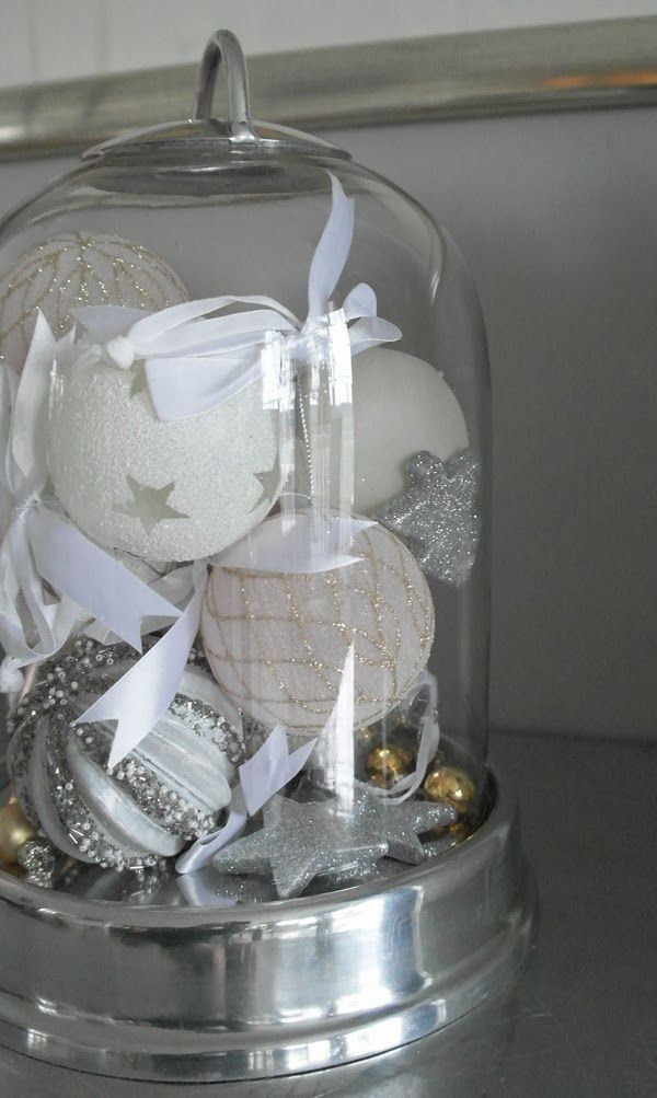 Christmas decoration white, silver and pink. http://anettewillemine.blogspot.no/