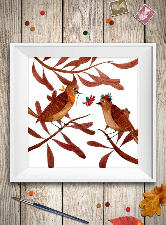 Questa è una stampa di un mio disegno ad acquarello nei toni del rosso/marrone di una coppia uccelli innamorati, puoi utilizzarla come