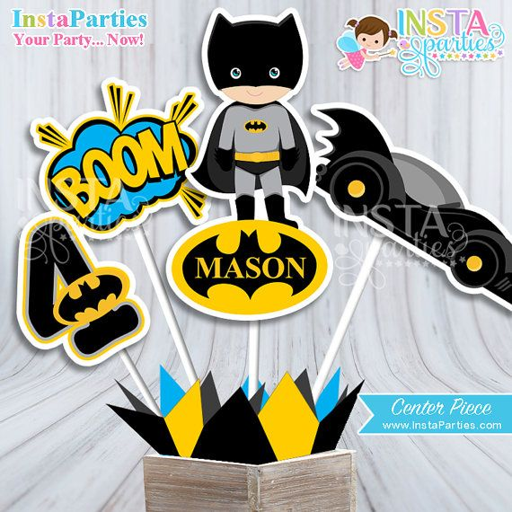 Batman Centerpiece Bat Superhero boy center piece by InstaParties