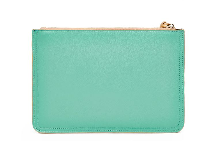 Tan & Turquoise Clutch - Back